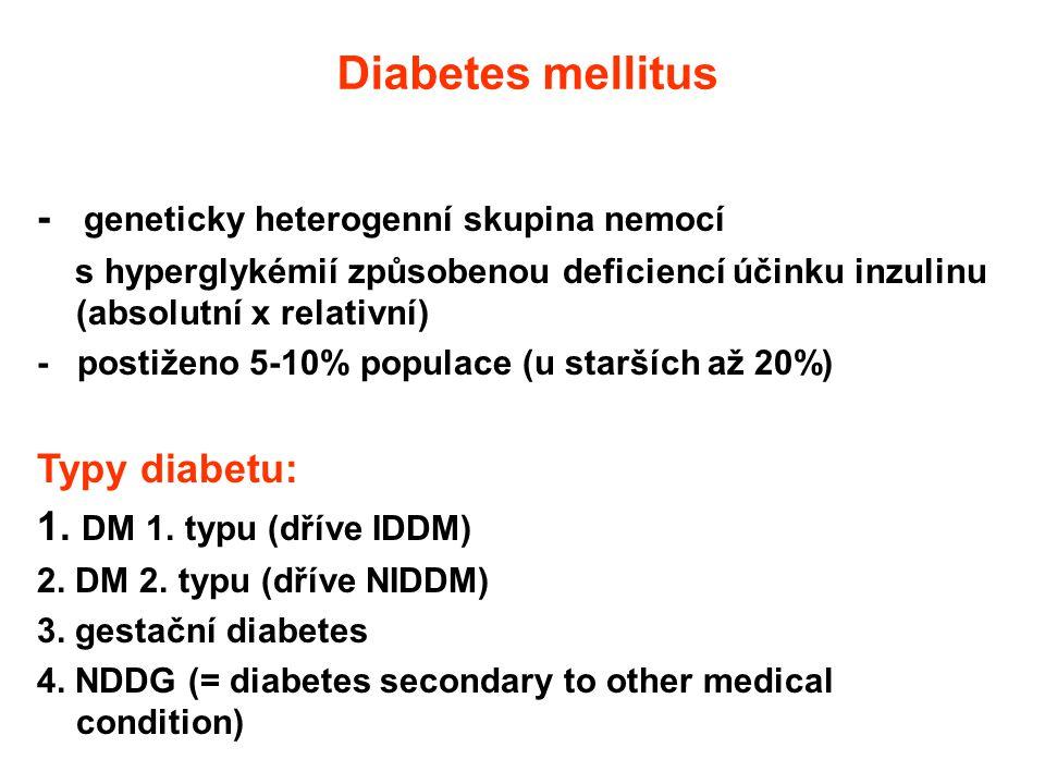 Diabetes mellitus - geneticky heterogenní skupina nemocí Typy diabetu: