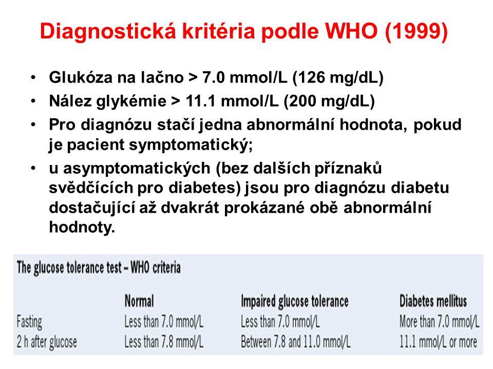 Diagnostická kritéria podle WHO (1999)