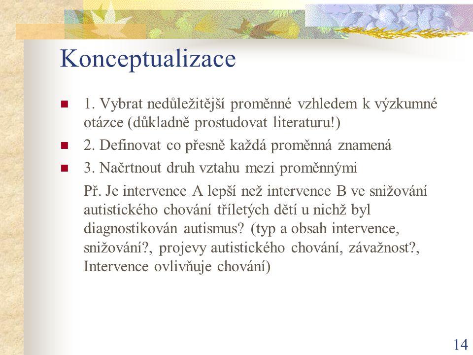 Konceptualizace 1. Vybrat nedůležitější proměnné vzhledem k výzkumné otázce (důkladně prostudovat literaturu!)