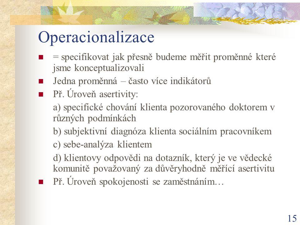Operacionalizace = specifikovat jak přesně budeme měřit proměnné které jsme konceptualizovali. Jedna proměnná – často více indikátorů.