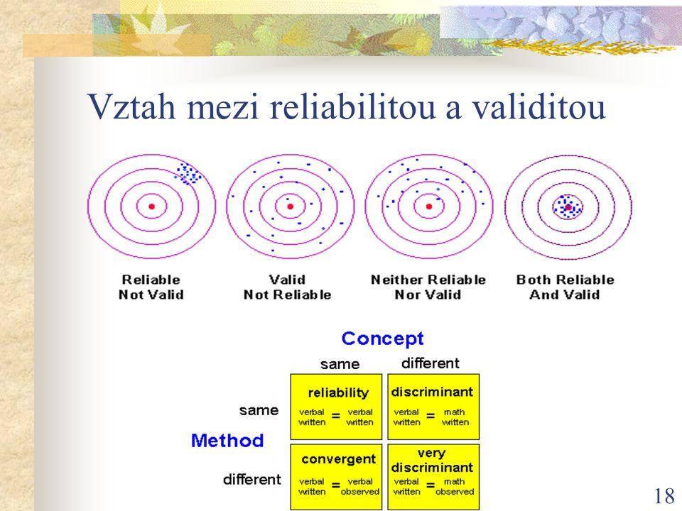Vztah mezi reliabilitou a validitou