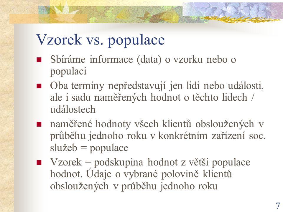 Vzorek vs. populace Sbíráme informace (data) o vzorku nebo o populaci