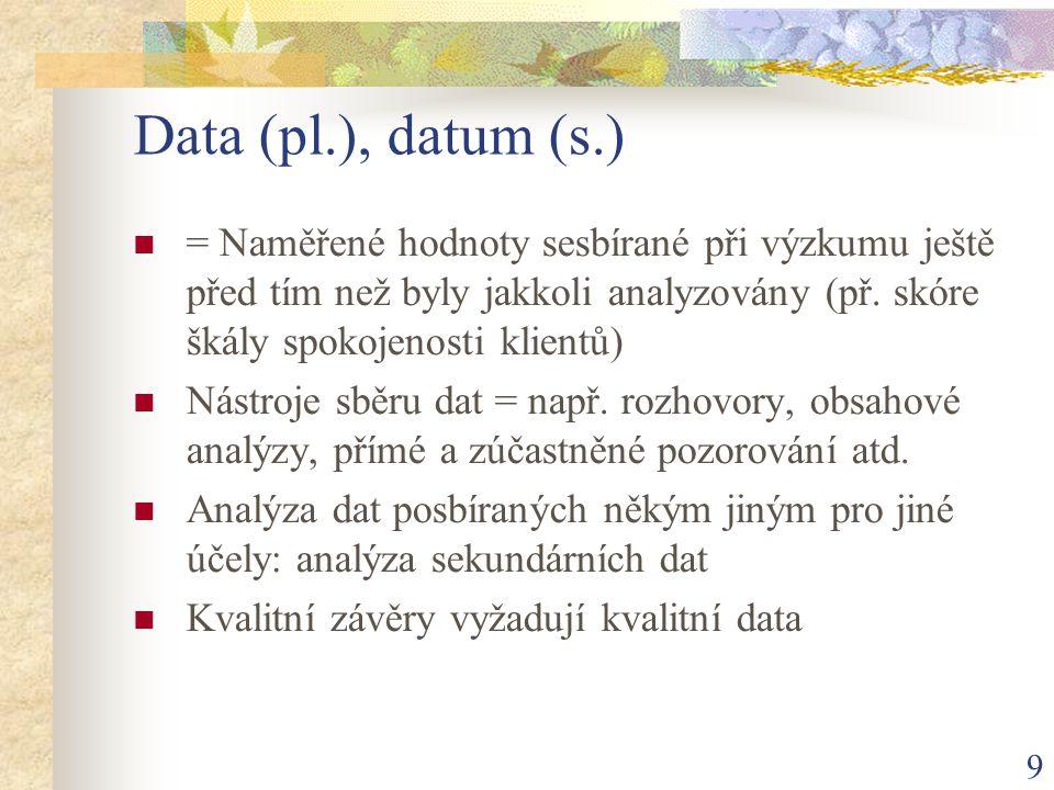 Data (pl.), datum (s.) = Naměřené hodnoty sesbírané při výzkumu ještě před tím než byly jakkoli analyzovány (př. skóre škály spokojenosti klientů)