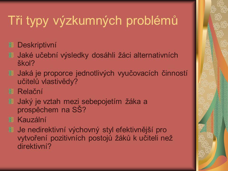 Tři typy výzkumných problémů