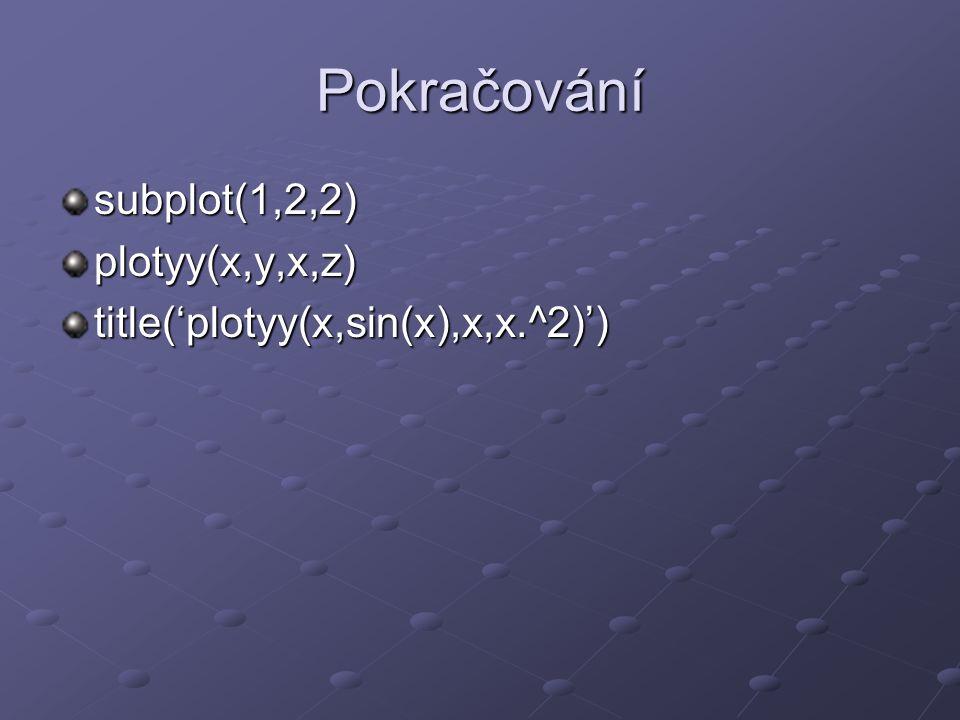 Pokračování subplot(1,2,2) plotyy(x,y,x,z)
