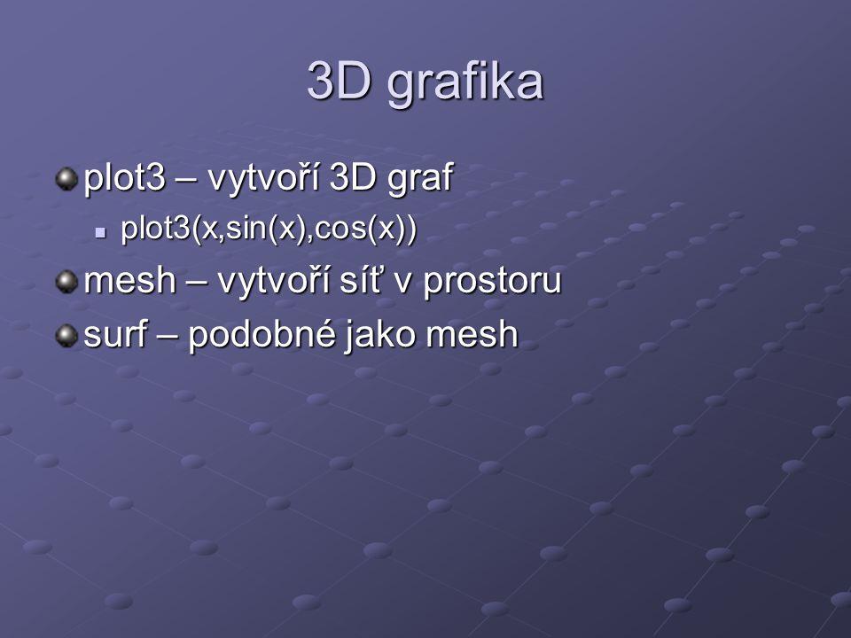 3D grafika plot3 – vytvoří 3D graf mesh – vytvoří síť v prostoru