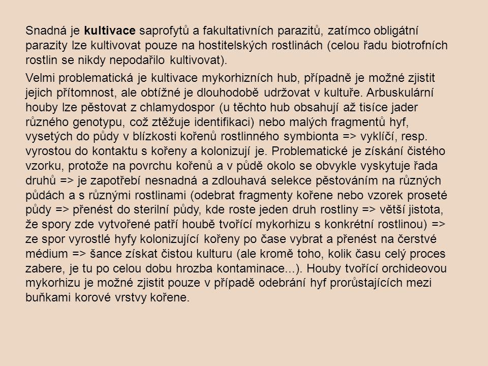 Snadná je kultivace saprofytů a fakultativních parazitů, zatímco obligátní parazity lze kultivovat pouze na hostitelských rostlinách (celou řadu biotrofních rostlin se nikdy nepodařilo kultivovat).