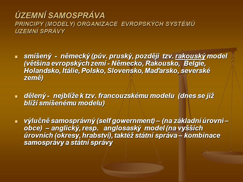 ÚZEMNÍ SAMOSPRÁVA PRINCIPY (MODELY) ORGANIZACE EVROPSKÝCH SYSTÉMŮ ÚZEMNÍ SPRÁVY