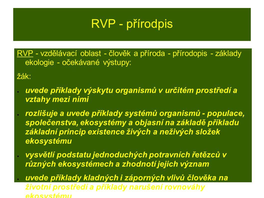 RVP - přírodpis RVP - vzdělávací oblast - člověk a příroda - přírodopis - základy ekologie - očekávané výstupy: