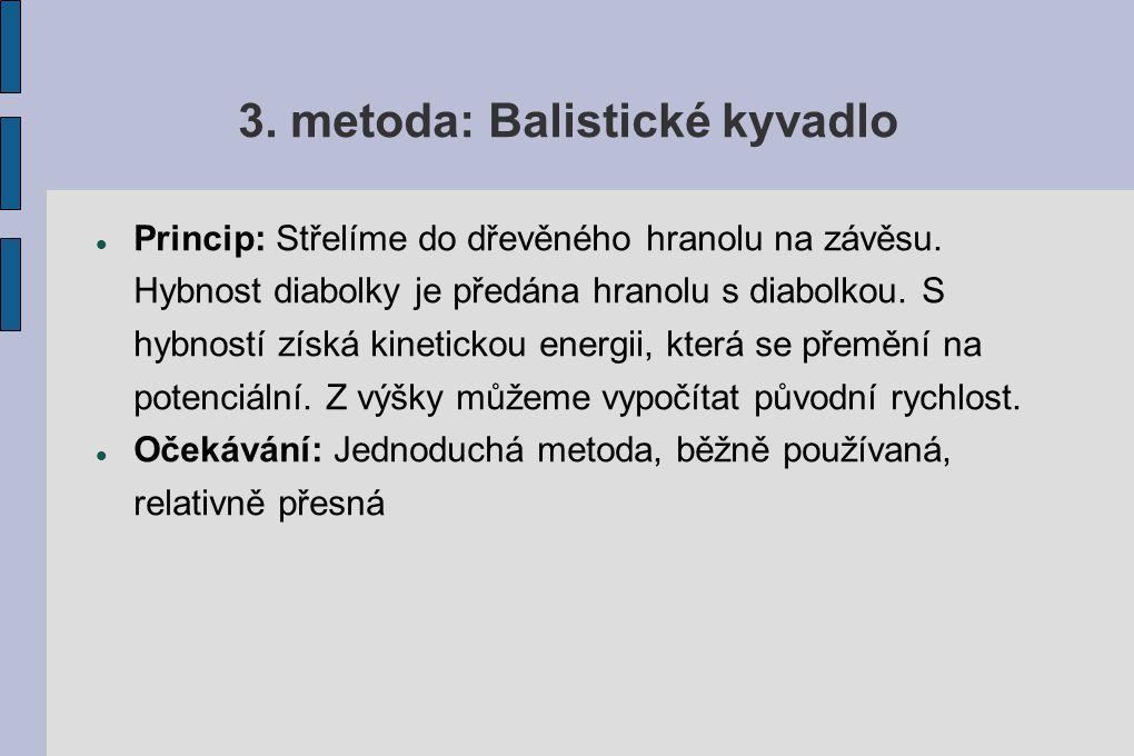 3. metoda: Balistické kyvadlo
