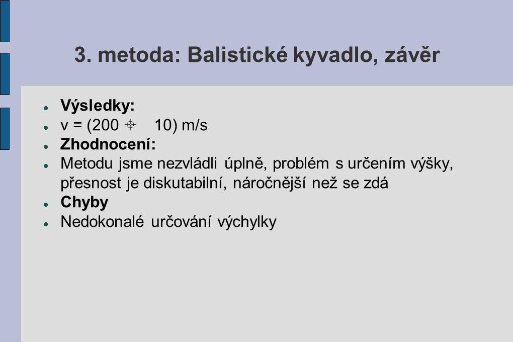 3. metoda: Balistické kyvadlo, závěr