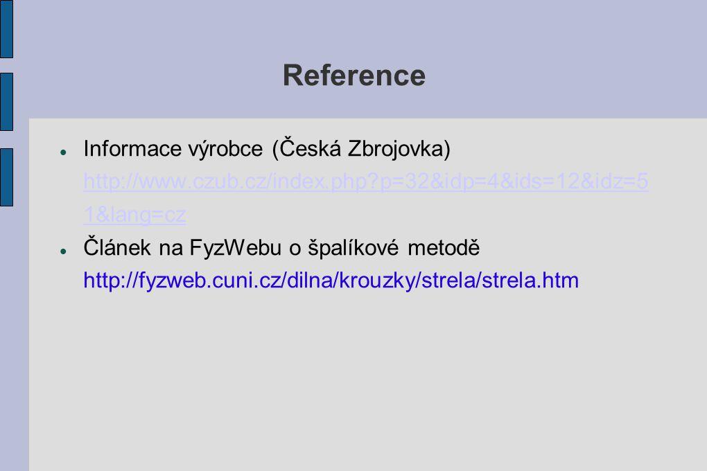 Reference Informace výrobce (Česká Zbrojovka) http://www.czub.cz/index.php p=32&idp=4&ids=12&idz=51&lang=cz.