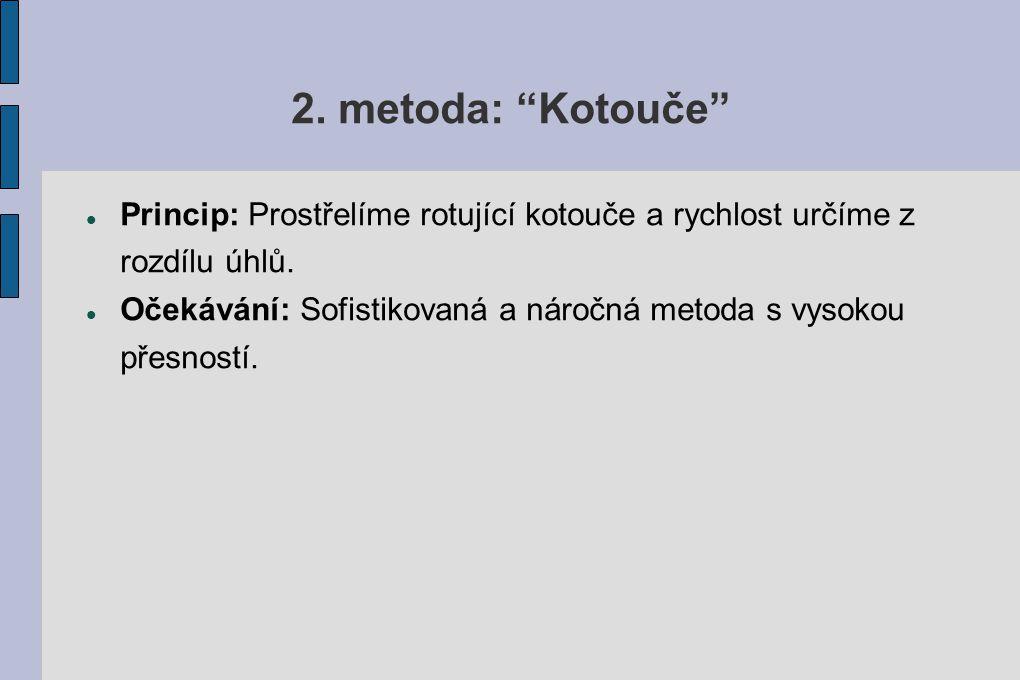 2. metoda: Kotouče Princip: Prostřelíme rotující kotouče a rychlost určíme z rozdílu úhlů.