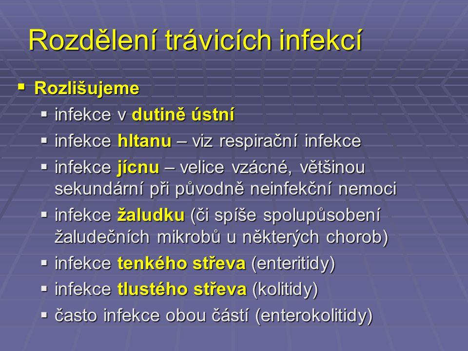 Rozdělení trávicích infekcí