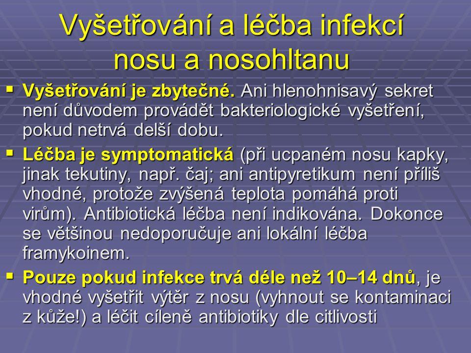 Vyšetřování a léčba infekcí nosu a nosohltanu