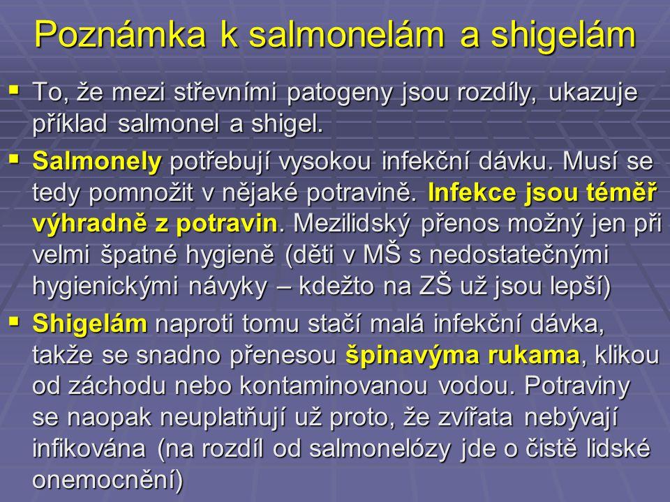 Poznámka k salmonelám a shigelám