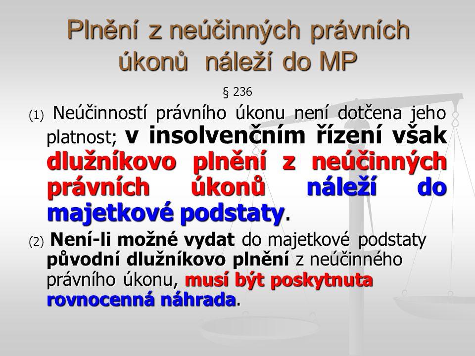Plnění z neúčinných právních úkonů náleží do MP