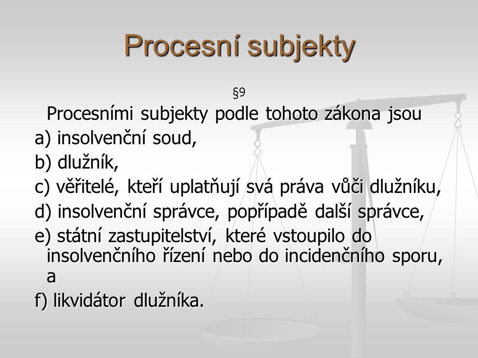 Procesní subjekty Procesními subjekty podle tohoto zákona jsou
