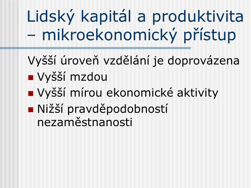 Lidský kapitál a produktivita – mikroekonomický přístup