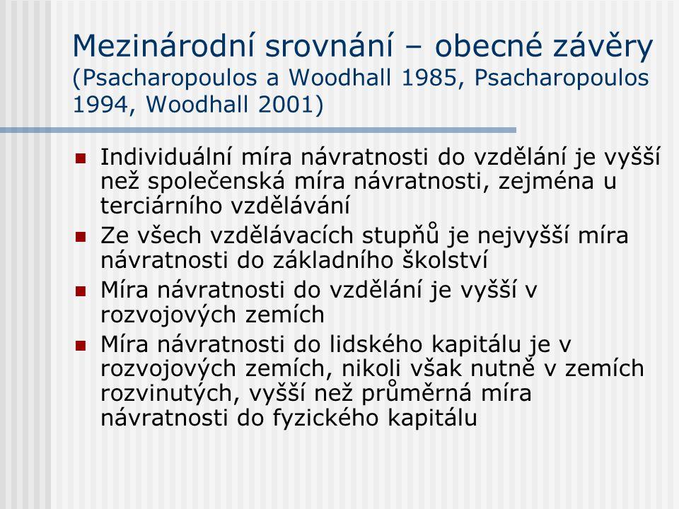 Mezinárodní srovnání – obecné závěry (Psacharopoulos a Woodhall 1985, Psacharopoulos 1994, Woodhall 2001)