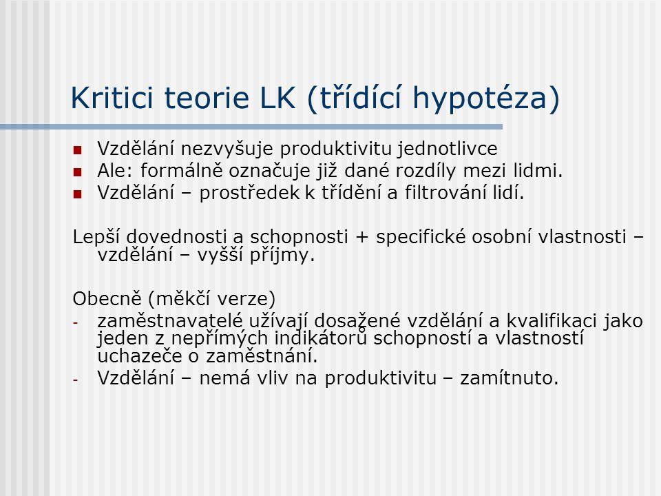 Kritici teorie LK (třídící hypotéza)