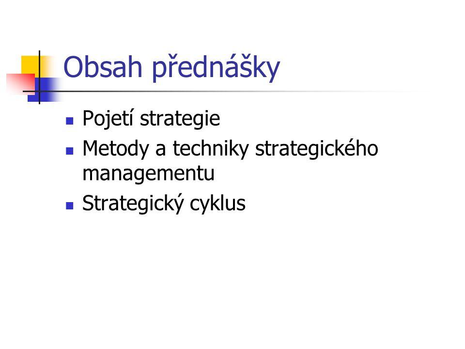 Obsah přednášky Pojetí strategie