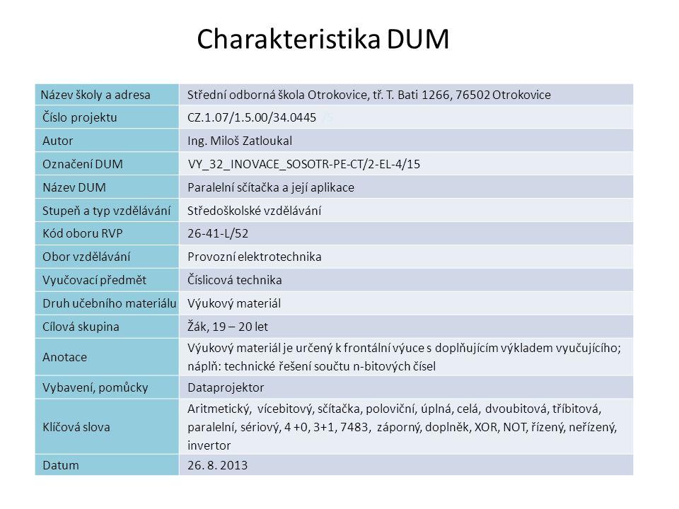 Charakteristika DUM 2 Název školy a adresa