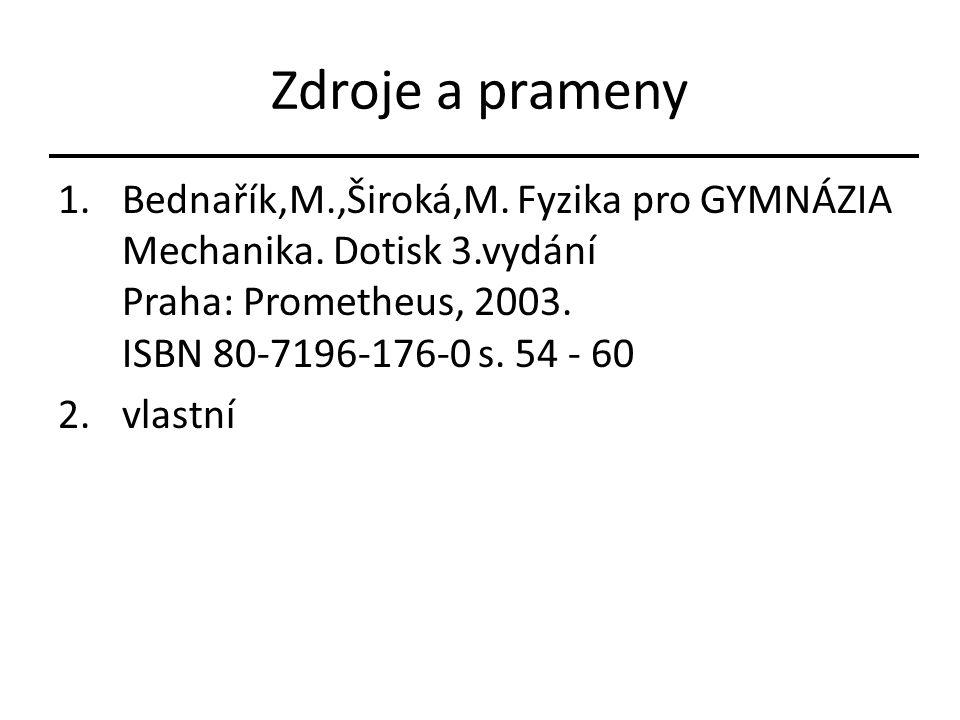 Zdroje a prameny Bednařík,M.,Široká,M. Fyzika pro GYMNÁZIA Mechanika. Dotisk 3.vydání Praha: Prometheus, 2003. ISBN 80-7196-176-0 s. 54 - 60.