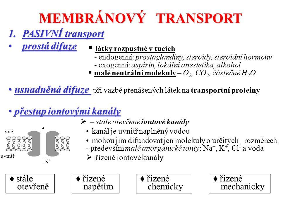 MEMBRÁNOVÝ TRANSPORT PASIVNÍ transport prostá difuze