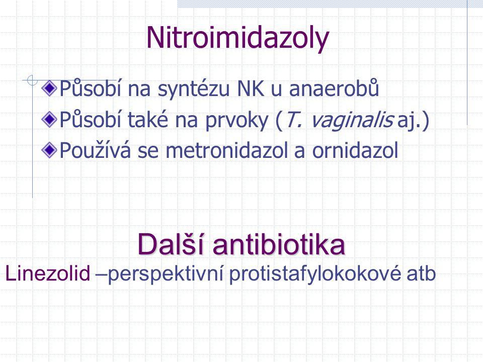 Nitroimidazoly Další antibiotika Působí na syntézu NK u anaerobů