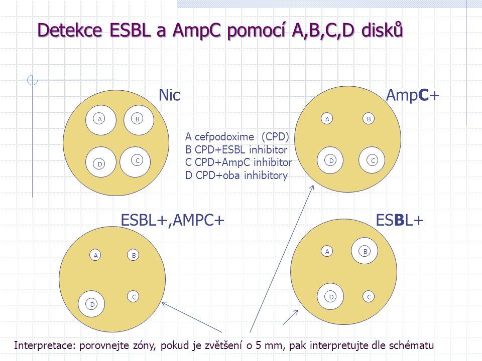 Detekce ESBL a AmpC pomocí A,B,C,D disků