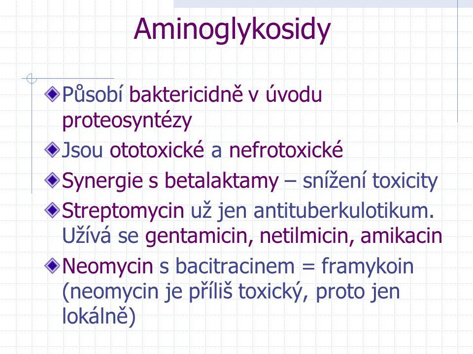 Aminoglykosidy Působí baktericidně v úvodu proteosyntézy