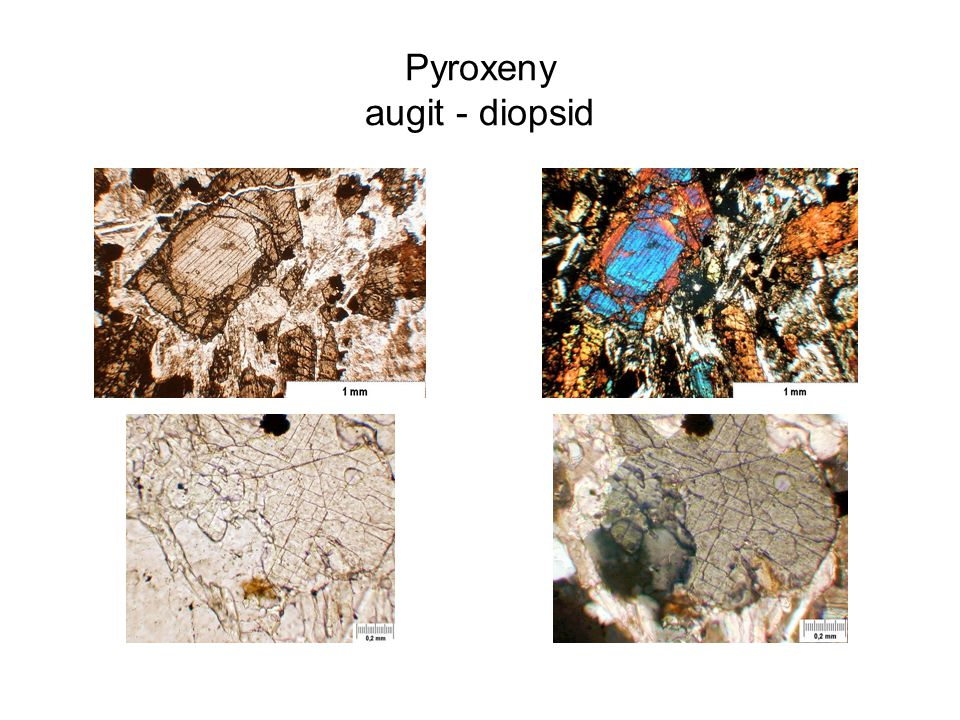 Pyroxeny augit - diopsid