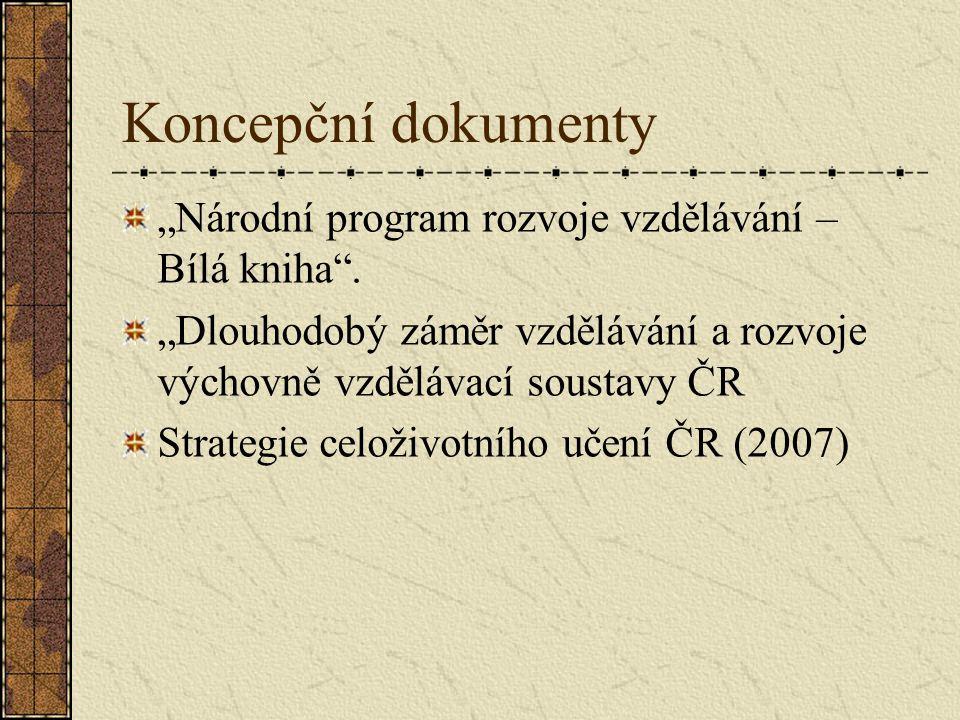 """Koncepční dokumenty """"Národní program rozvoje vzdělávání – Bílá kniha ."""