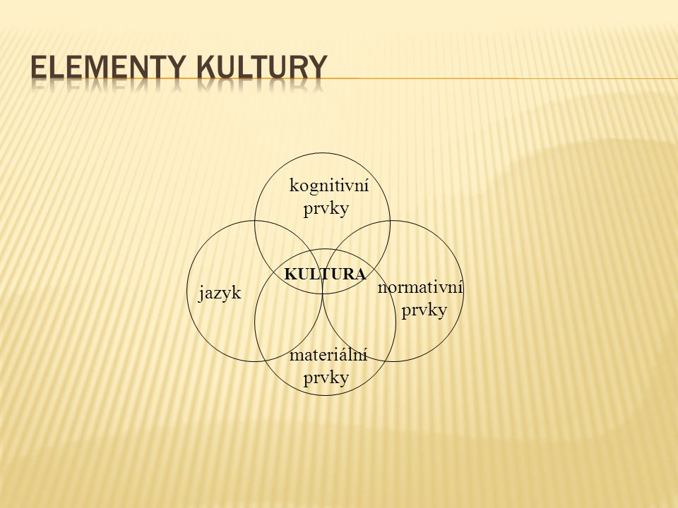 Elementy kultury kognitivní prvky normativní jazyk prvky materiální