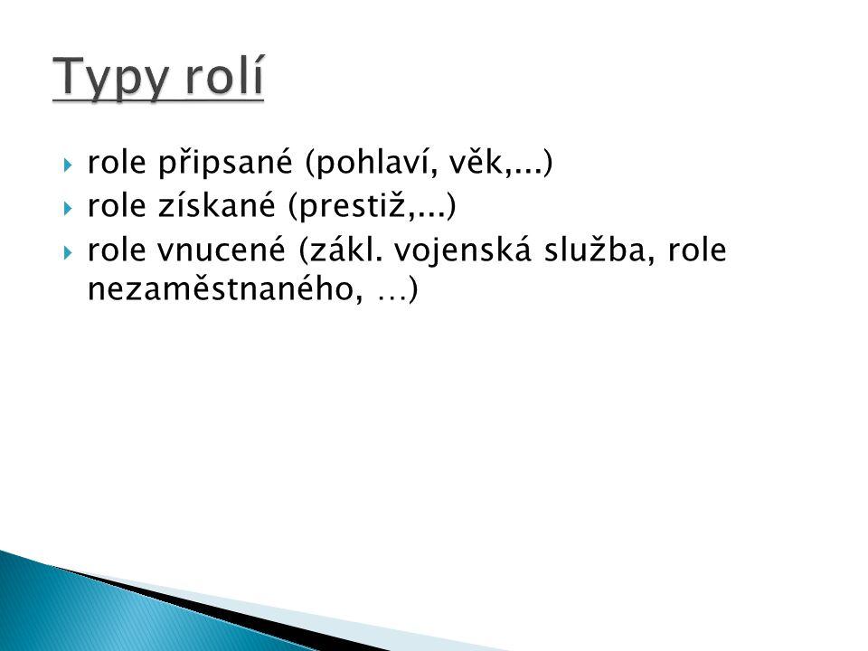 Typy rolí role připsané (pohlaví, věk,...) role získané (prestiž,...)