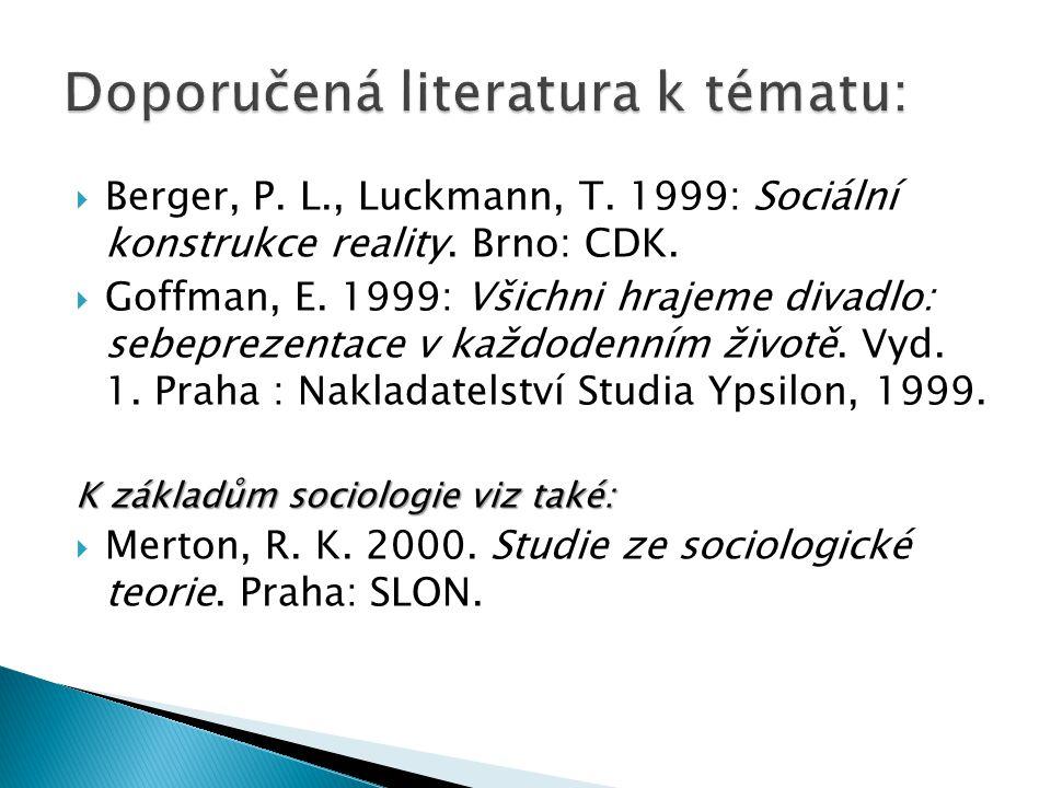 Doporučená literatura k tématu: