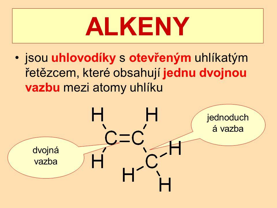 ALKENY jsou uhlovodíky s otevřeným uhlíkatým řetězcem, které obsahují jednu dvojnou vazbu mezi atomy uhlíku.