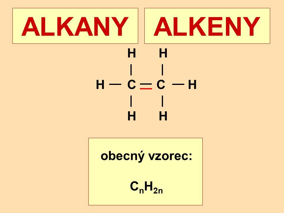 ALKANY ALKENY H H C C H H H obecný vzorec: CnH2n+2 obecný vzorec: