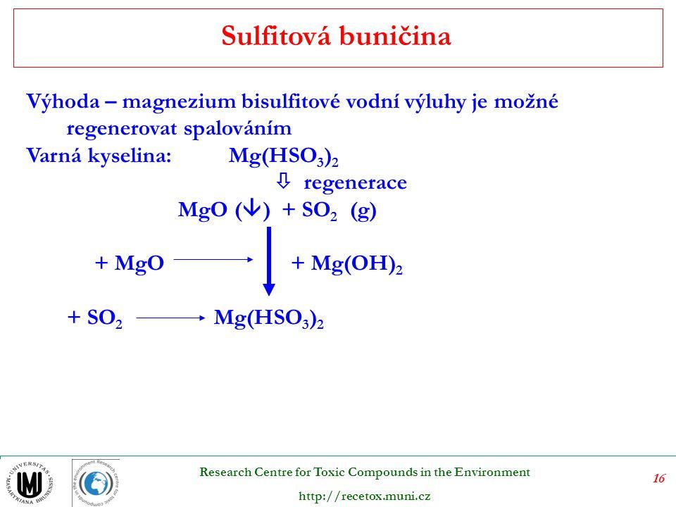 Sulfitová buničina Výhoda – magnezium bisulfitové vodní výluhy je možné regenerovat spalováním. Varná kyselina: Mg(HSO3)2.