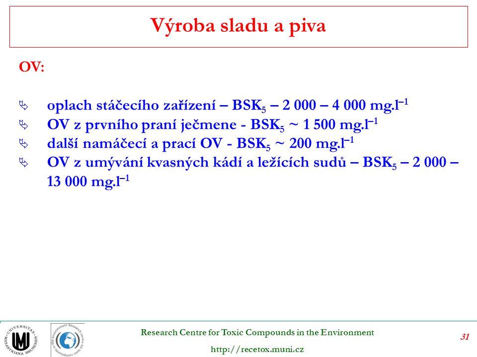 Výroba sladu a piva OV: oplach stáčecího zařízení – BSK5 – 2 000 – 4 000 mg.l–1. OV z prvního praní ječmene - BSK5 ~ 1 500 mg.l–1.