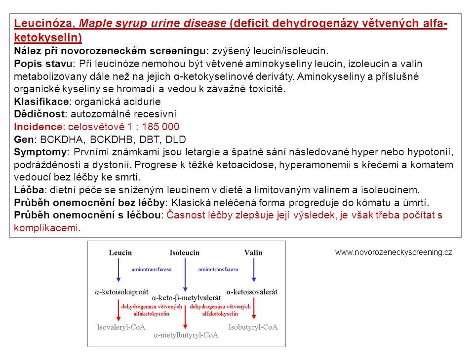 Leucinóza, Maple syrup urine disease (deficit dehydrogenázy větvených alfa-ketokyselin)