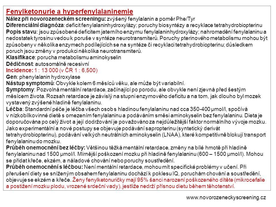 Fenylketonurie a hyperfenylalaninemie