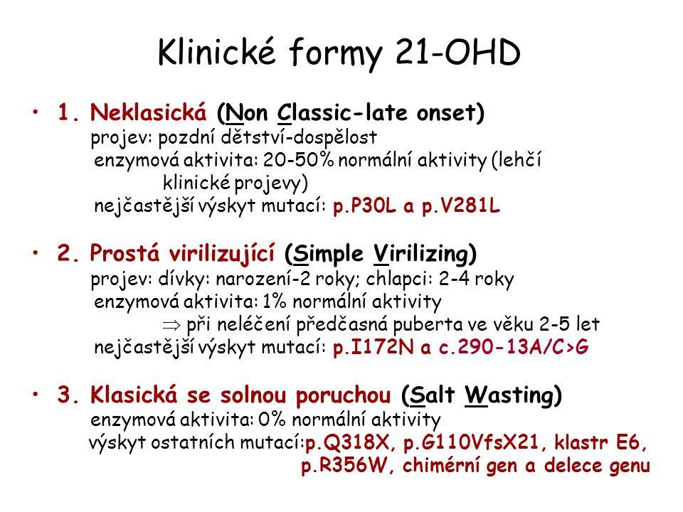 Klinické formy 21-OHD 1. Neklasická (Non Classic-late onset)