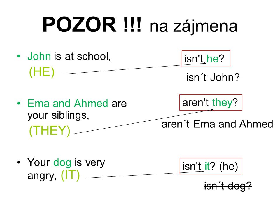 POZOR !!! na zájmena John is at school, isn t he (HE) isn´t John