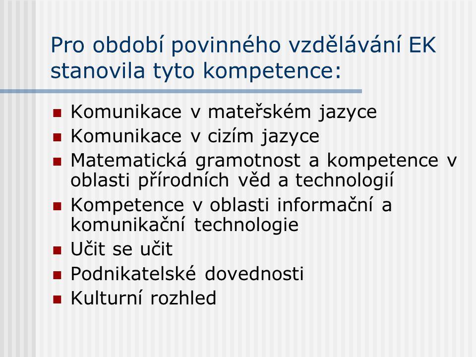 Pro období povinného vzdělávání EK stanovila tyto kompetence: