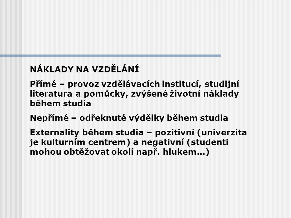 NÁKLADY NA VZDĚLÁNÍ Přímé – provoz vzdělávacích institucí, studijní literatura a pomůcky, zvýšené životní náklady během studia.