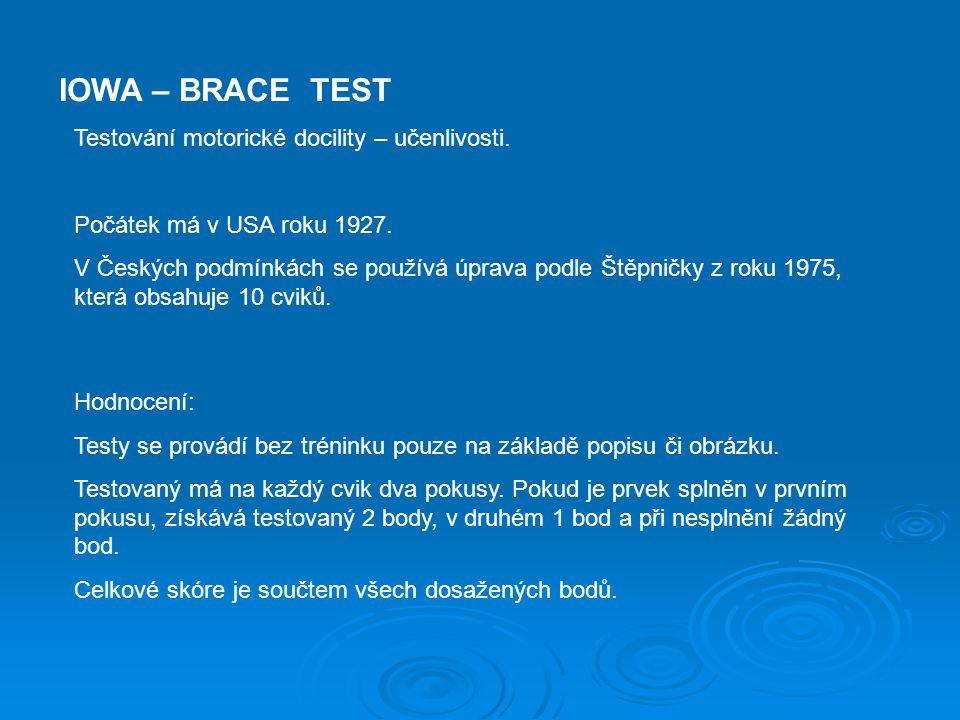 IOWA – BRACE TEST Testování motorické docility – učenlivosti.