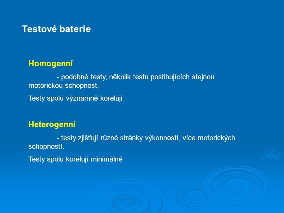 Testové baterie Homogenní Heterogenní