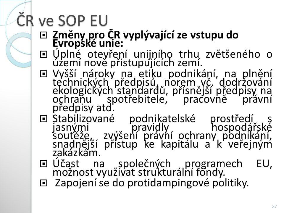 ČR ve SOP EU Změny pro ČR vyplývající ze vstupu do Evropské unie: